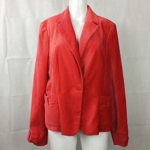 Red Velvet Blazer Jacket Sz 14 Holiday